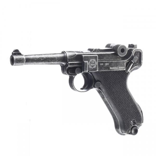 ME P08, Jubiläumswaffe antik 110 Jahre, schwarzer Holzgriff